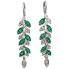 Emerald and Diamond Leaf Earrings