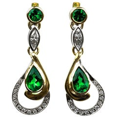 Emerald and Diamond Lever Back Drop Earrings in 18 Carat Yellow Gold