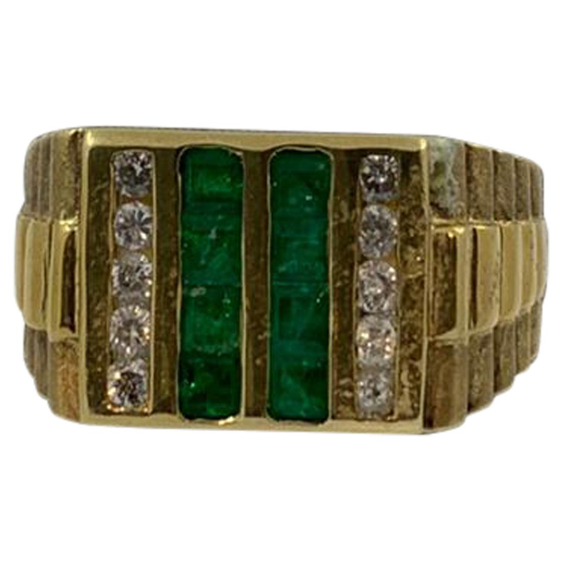 Emerald and Diamond Men's Ring