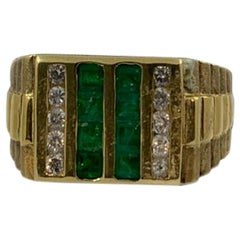 Emerald and Diamond Men's Ring