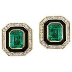 Emerald and Diamond Museum Series Earrings by Andrew Glassford
