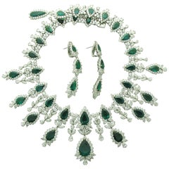 Emerald and Diamond Necklace and Earrings Set in Platinum and 18 Karat Gold