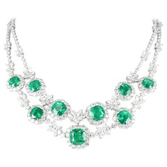 Emerald and Diamond Necklace in 18 Karat White Gold