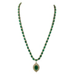 Emerald and Diamond Necklace with Emerald Chain