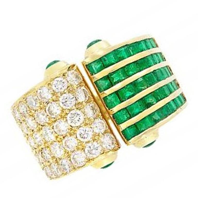 Emerald and Diamond Open Ring, 18 Karat Yellow Gold For Sale
