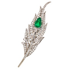 Emerald and Diamond Peacock Feather Brooch