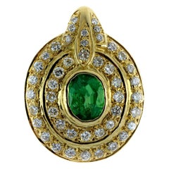 Emerald and Diamond Pendant in 18 Carat Yellow Gold