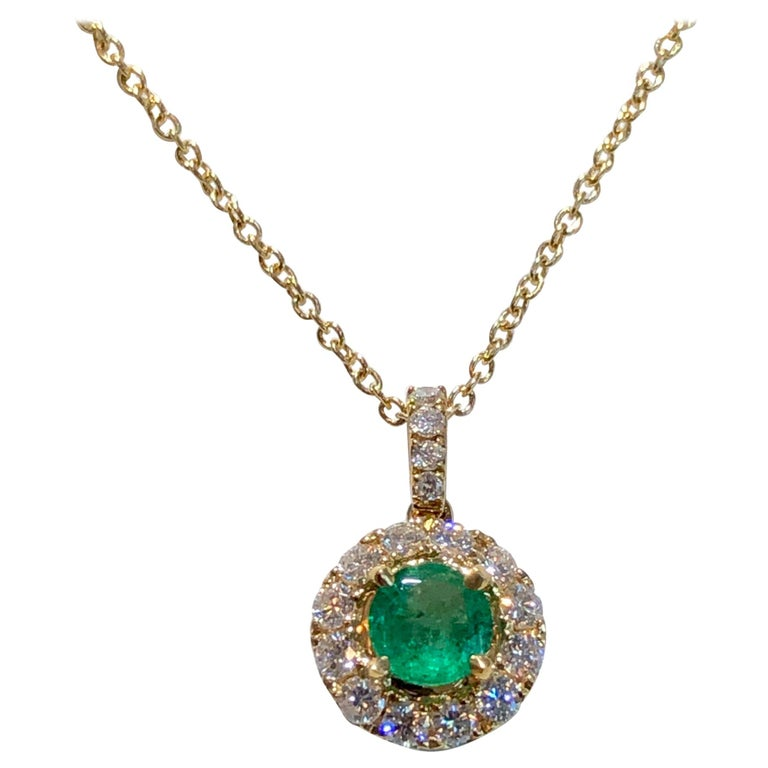 Emerald and Diamond Pendant Necklace Yellow Gold For Sale