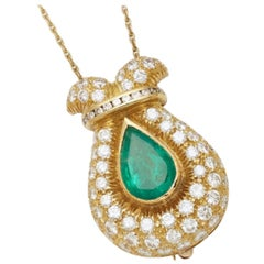 Emerald and Diamond Pendant or Brooch on Chain