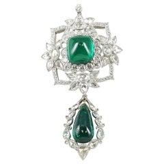 Emerald and Diamond Pendant Set in Platinum