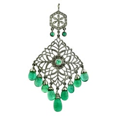 Emerald and Diamond Pendant, Set with Diamonds and Supporting Nine Emerald Drops