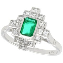 Emerald and Diamond Platinum Cocktail Ring, Art Deco, Vintage, circa 1940
