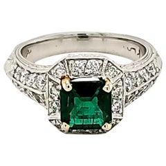 Emerald and Diamond Platinum Engagement Ring
