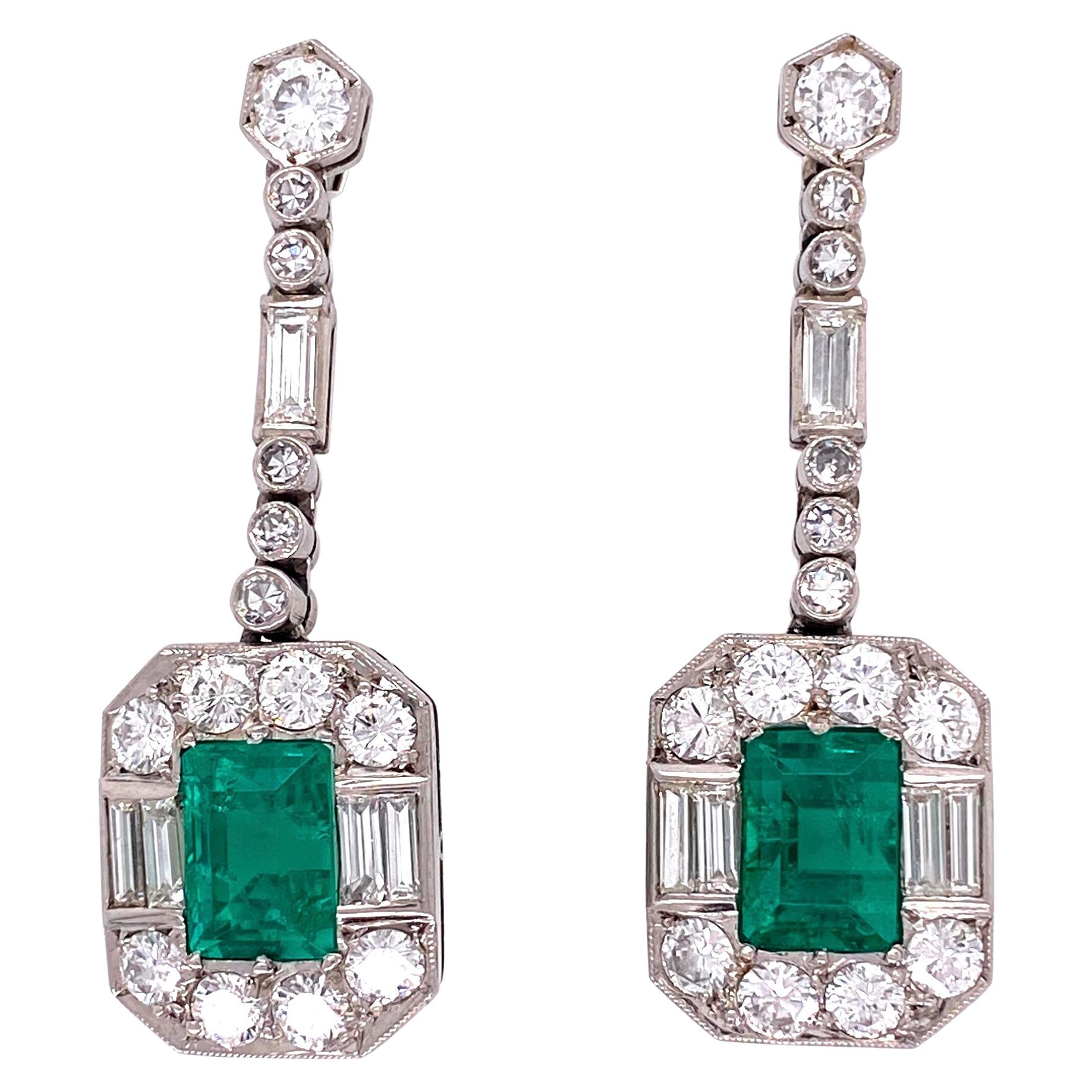 Emerald and Diamond Platinum Retro Drop Earrings Estate Fine Jewelry