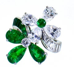 Emerald and Diamond Platinum Ring
