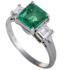 Emerald and Diamond Platinum Three-Stone Ring