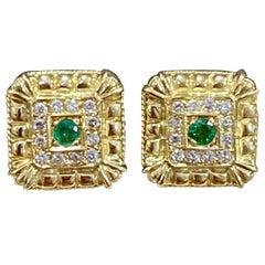 Emerald and Diamond Post and Omega Back Earrings 18 Karat Yellow Gold