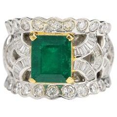 Emerald and Diamond Ring 3.50 Carat Emerald 18 Karat White Gold