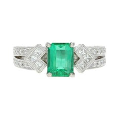 Emerald and Diamond Ring, 900 Platinum, Women's 1.53 Carat