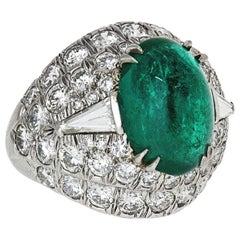 Green Emerald and Diamond Ring by David Webb Platinum