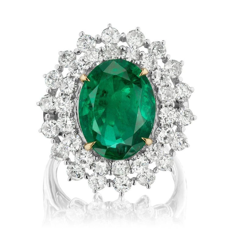 Modern Emerald and Diamond Ring by Takat For Sale