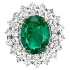 Takat 5.27 Cts Emerald And Diamond Ring In 18K White Gold