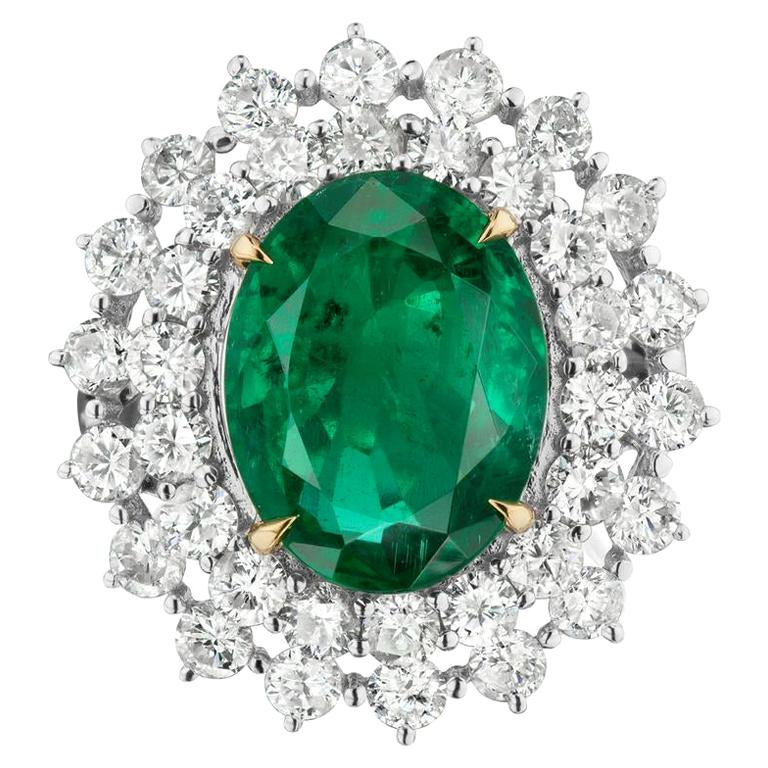 Emerald and Diamond Ring by Takat For Sale