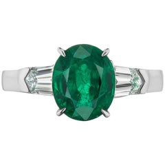 Takat 2.45 Cts Emerald And Diamond Ring In 18K White Gold