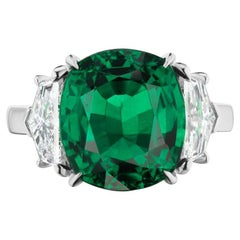 Takat 7.28 Cts. GRS Certified Emerald And Diamond Ring In Platinum