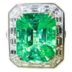 AGL Certified Natural, faint oil, Emerald and Diamond Ring