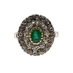 Emerald and Diamond Ring in .925 Silver and 9 Karat Gold in Ancient Technique