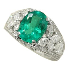 Emerald and Diamond Ring Oval Shape Emerald 3.44 Carat and Mix Shapes Diamonds