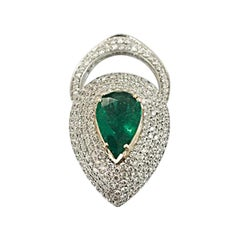 RARE Emerald and Diamond Ring ADJUSTABLE to Pendant ,18k gold