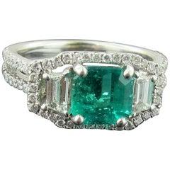 Emerald and Diamond Ring Set in 18 Karat White Gold