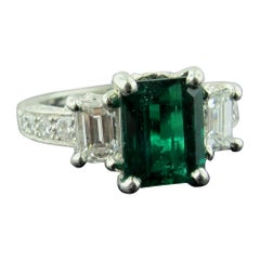 Emerald and Diamond Ring Set in Platinum