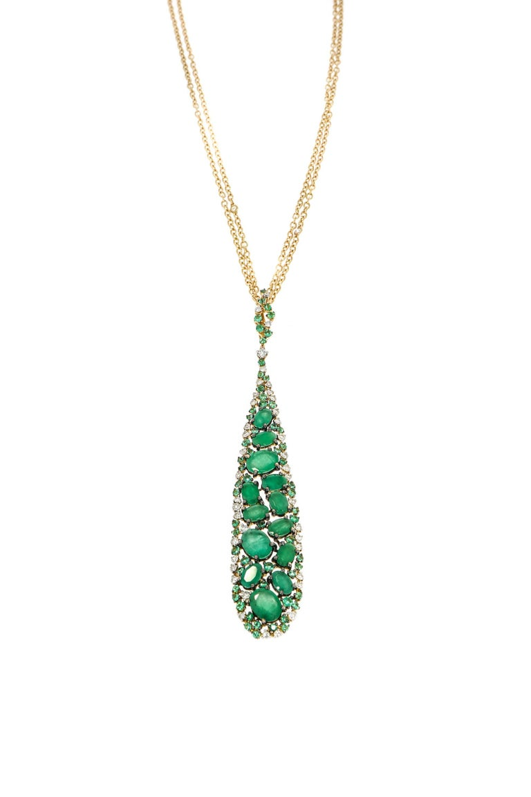 Artist Emerald and Diamond Rose Gold Pendant by Casato For Sale