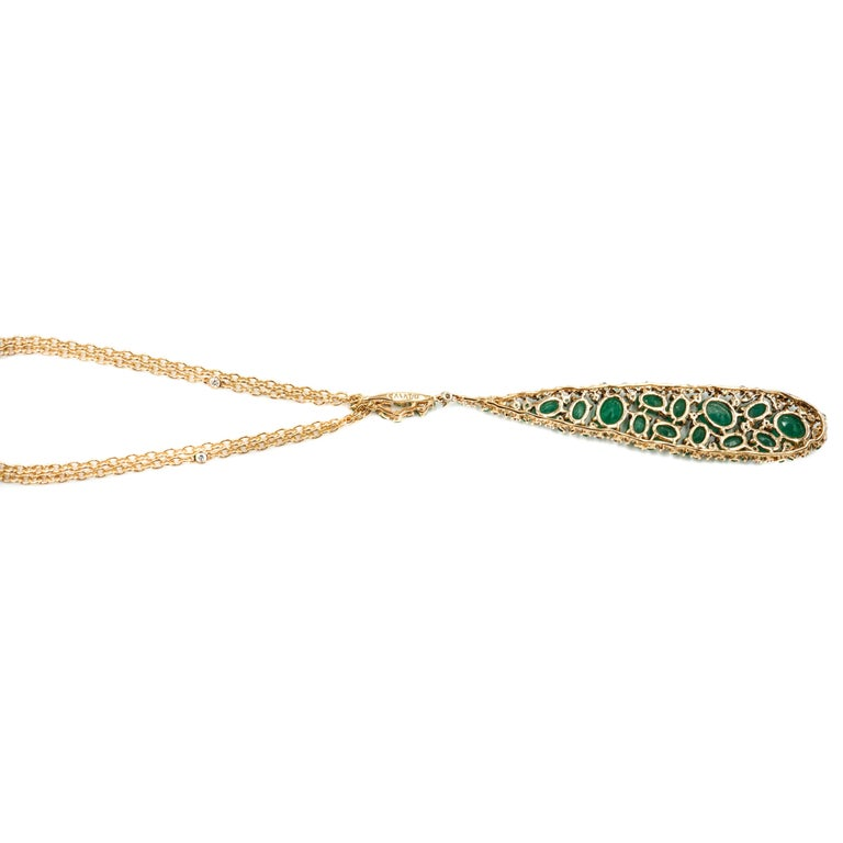 Emerald and Diamond Rose Gold Pendant by Casato In New Condition For Sale In Greenwich, CT