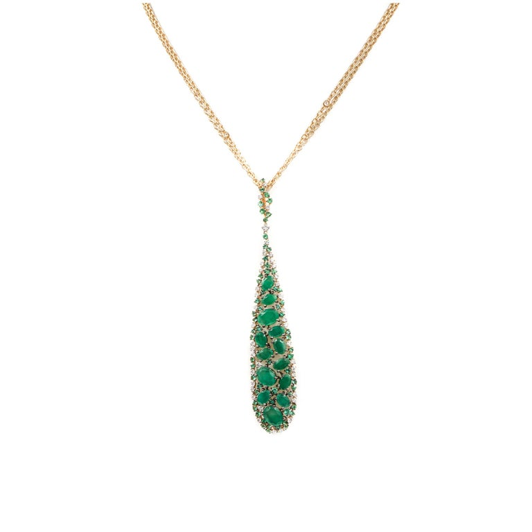 Emerald and Diamond Rose Gold Pendant by Casato For Sale 1
