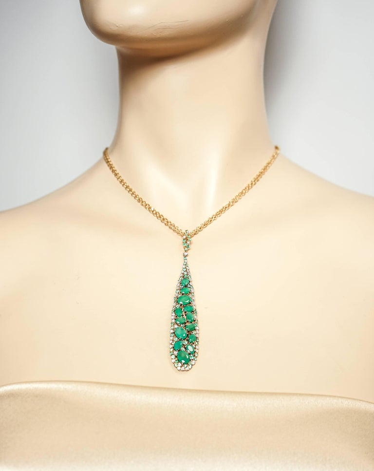 Emerald and Diamond Rose Gold Pendant by Casato For Sale 2