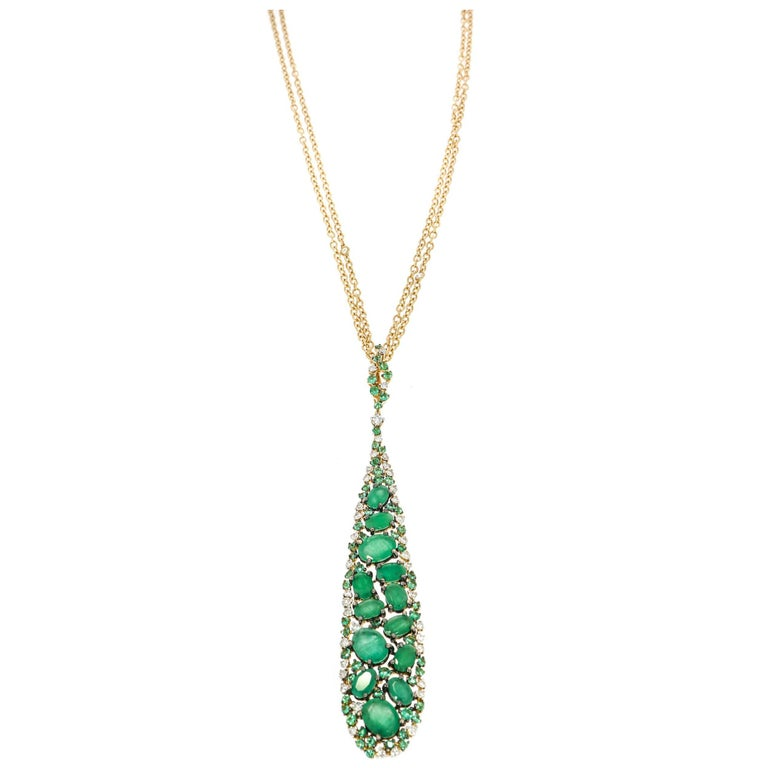 Emerald and Diamond Rose Gold Pendant by Casato For Sale