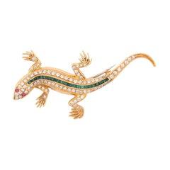 Emerald and Diamond Salamander Brooch