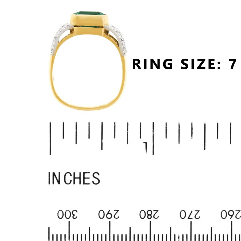 Emerald and Diamond Set Gold and Platinum Ring For Sale 2