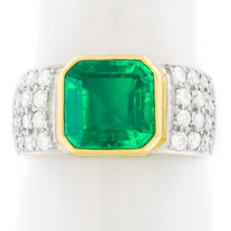Emerald and Diamond Set Gold and Platinum Ring For Sale 4