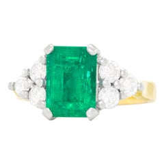 Emerald and Diamond-Set Gold and Platinum Ring