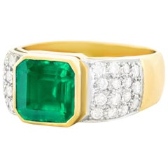 Emerald and Diamond Set Gold and Platinum Ring