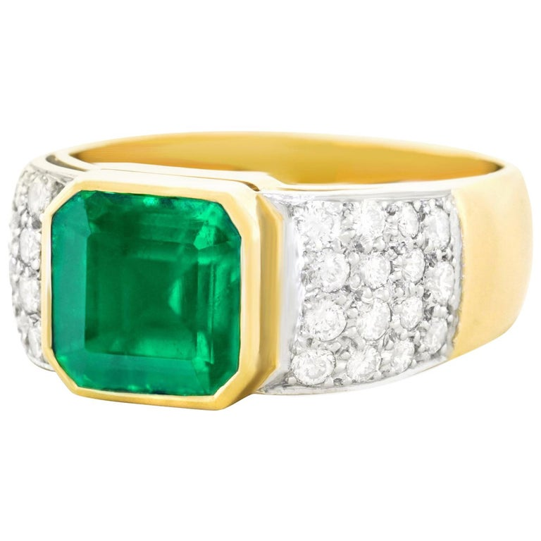 Emerald and Diamond Set Gold and Platinum Ring For Sale