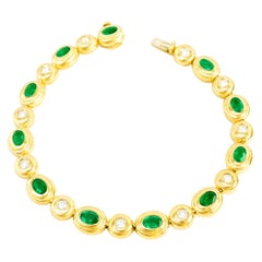 Emerald and Diamond Set Gold Bracelet
