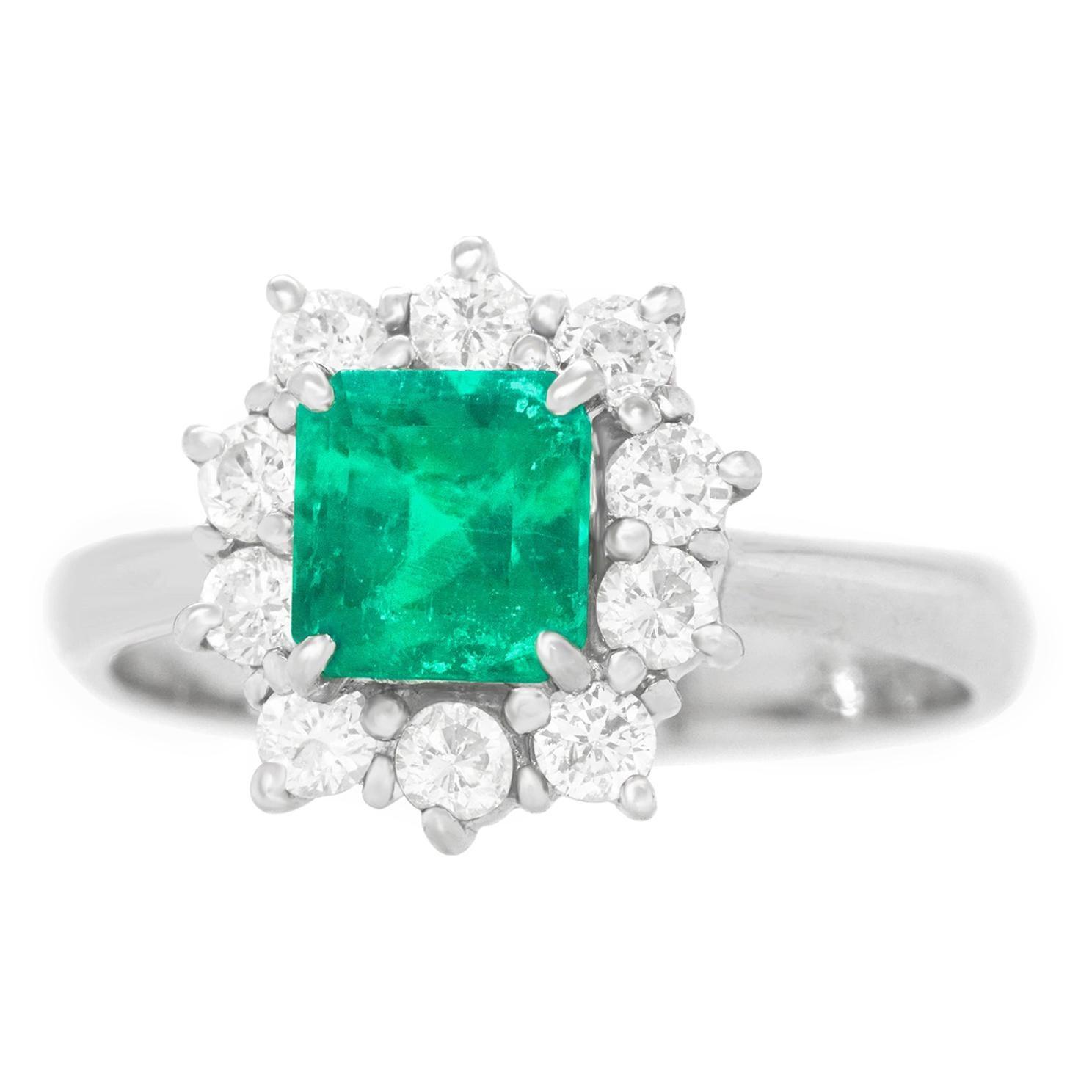 Emerald and Diamond-Set Platinum Ring
