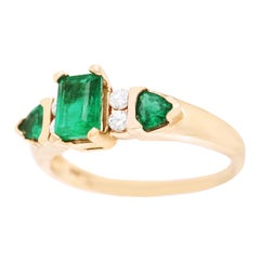Emerald and Diamond Set Ring 14 Karat, circa 1960s, American