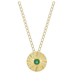 Emerald and Diamond Shazam Necklace